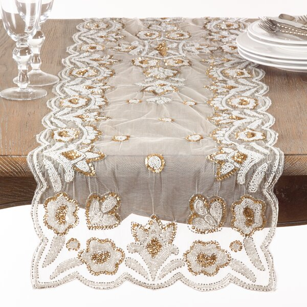 Morais Floral Design Hand Beaded Table Runner by Bloomsbury Market