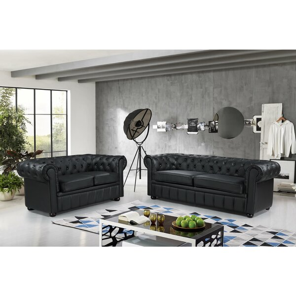 Kiska Chesterfield 2 Piece Leather Living Room Set by Darby Home Co