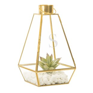 Affordable Glass and Metal Lantern By Beachcrest Home