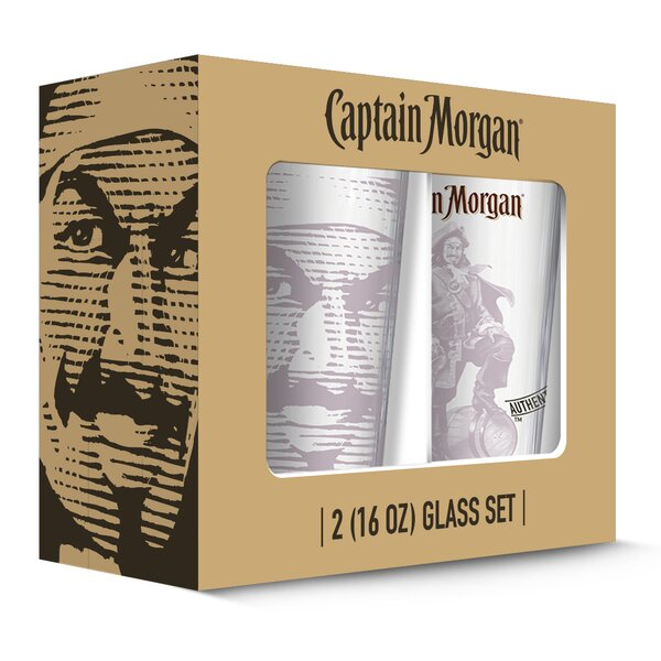 Captain Morgan Tonal Pub 16 oz. Pint Glass (Set of 2) by PB