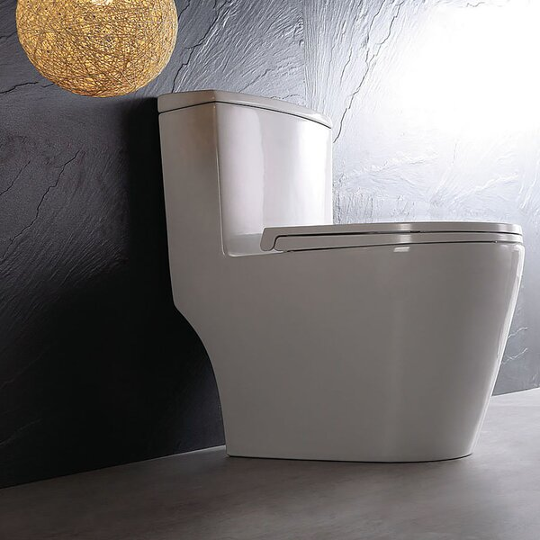 Dual Top-Mount Flush 1.2 GPF Elongated One-Piece Toilet by Jade Bath