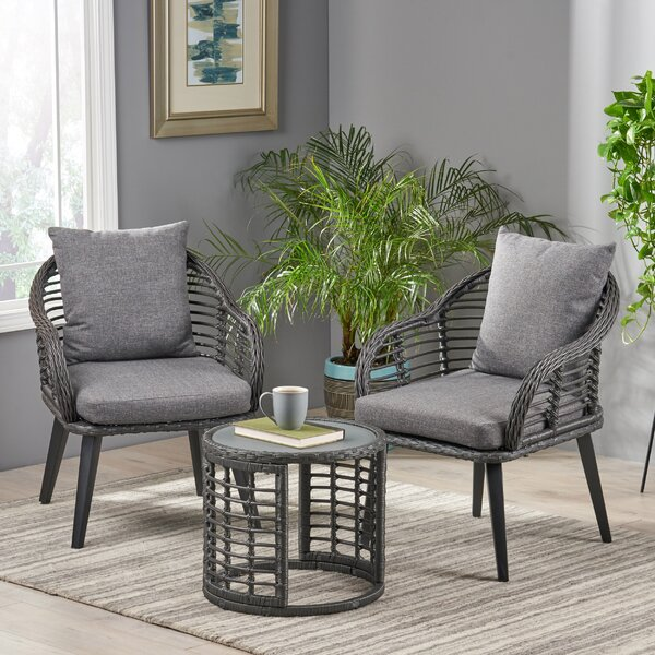 Coe Indoor Modern Boho 3 Piece Rattan Seating Group with Cushions by Bungalow Rose