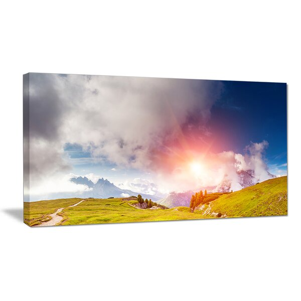 Cadini di Misurina Range at Sunset Photographic Print on Wrapped Canvas by Design Art
