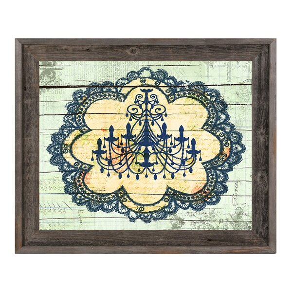 Blue Chandelier Lace Framed Graphic Art on Canvas by Click Wall Art