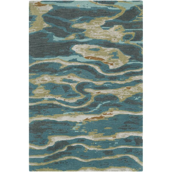 Borges Hand-Tufted Emerald/Olive Area Rug by Ivy Bronx