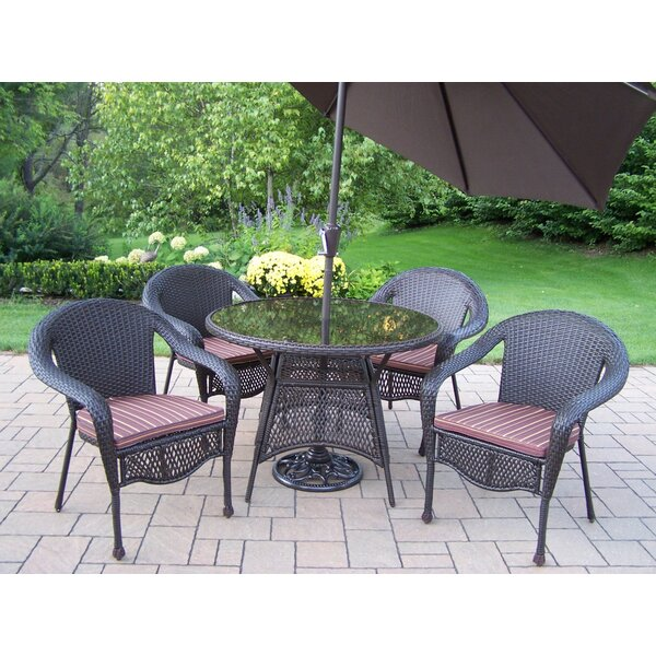 Elite Resin Wicker 5 Piece Dining Set with Cushions and Umbrella by Oakland Living