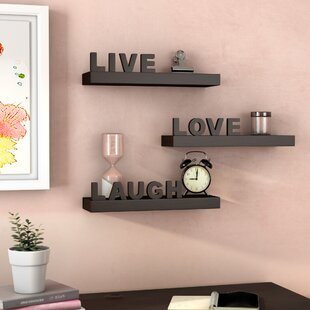 Howton 3 Piece Live Love Laugh Floating Wall Shelf Set