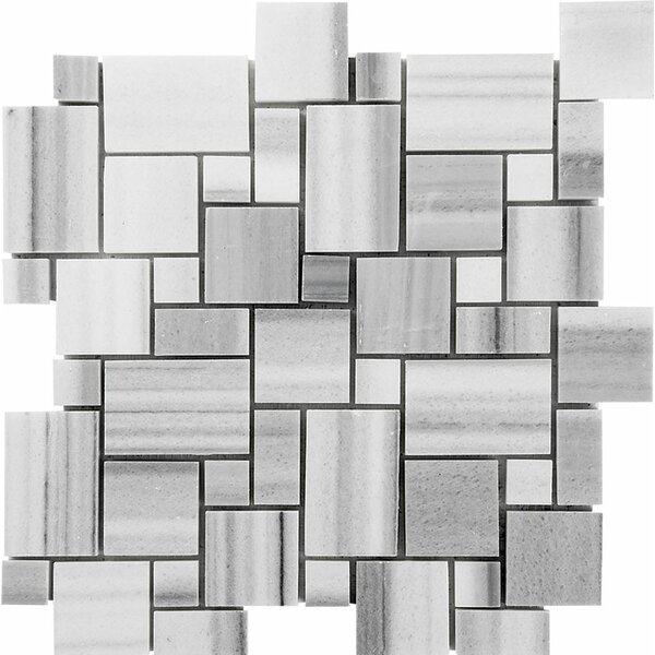Horizon Mini Versailles Random Sized Stone Mosaic Tile in White Polished by Parvatile
