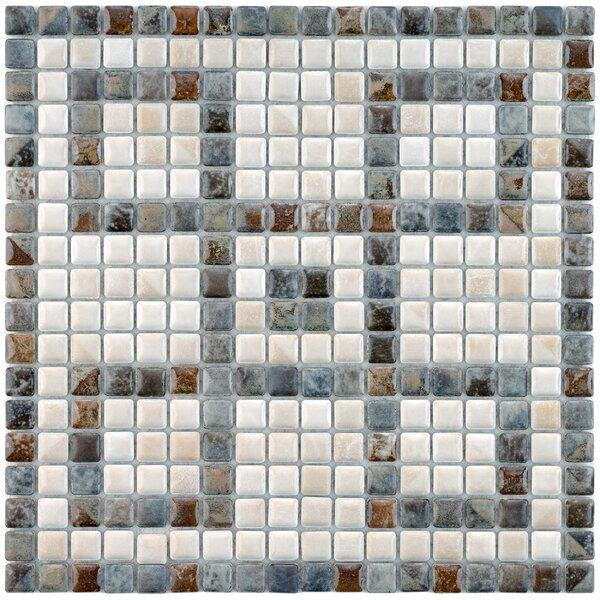 Samoan Greek Key 0.56 x 0.56 Porcelain Mosaic Tile in Gray/White by EliteTile