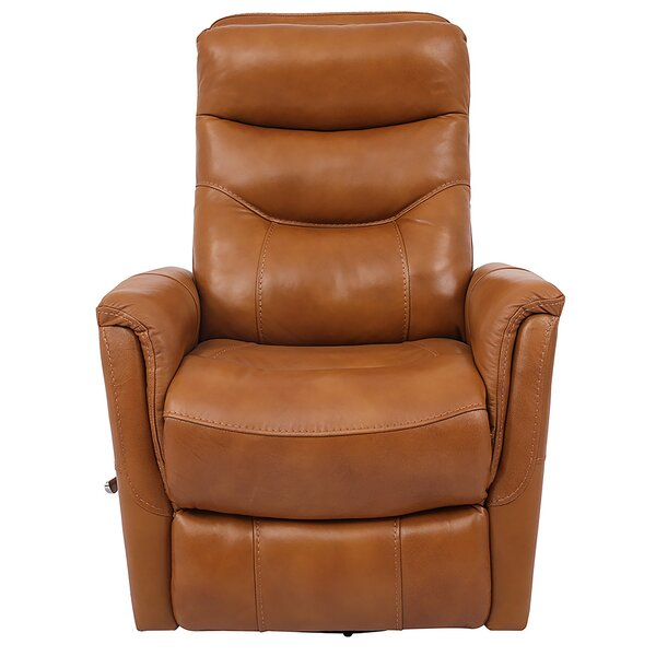 Unruh Leather Manual Swivel Glider Recliner by Red Barrel Studio Red Barrel Studio