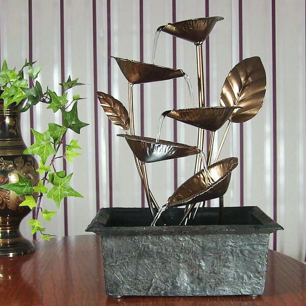 Metal Cascading 5 Leaves Tabletop Fountain with Light by Wildon Home ®