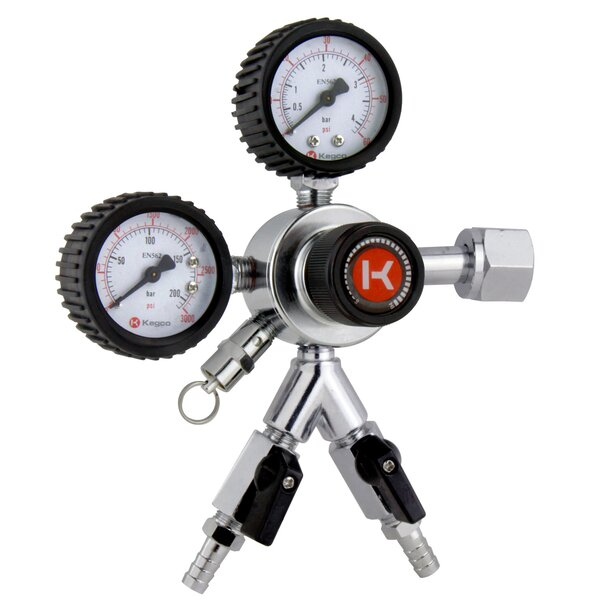Premium Gauge Two Product Dual Tap Commercial Grade Regulator by Kegco