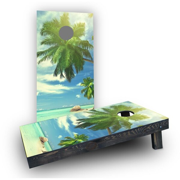 Palms Off The Beach on a Sunny Day Cornhole Boards (Set of 2) by Custom Cornhole Boards