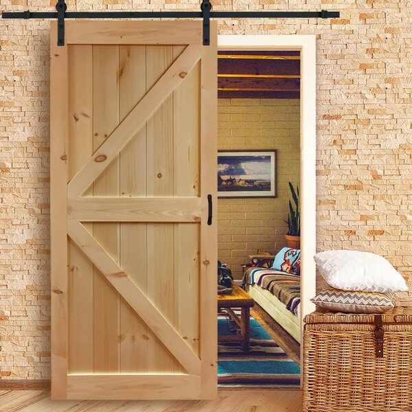 Solid Wood Flush Interior Barn Door by Kimberly Bay