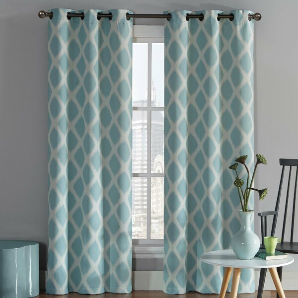 Coley Geometric Room Darkening Grommet Curtain Panels (Set of 2) by Mercury Row