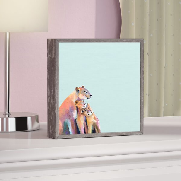 Cathy Blue You And Me Lions by Cathy Walters Mini Framed Canvas Art by Viv + Rae