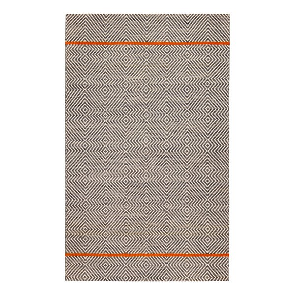 Flatweave Hand-Woven White/Brown Area Rug by Brayden Studio