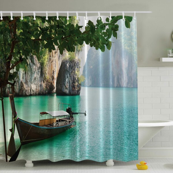 Wood Sandal Print Shower Curtain by Ambesonne