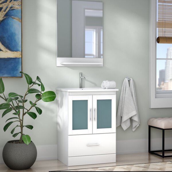 Duke 24 Single Bathroom Vanity Set with Mirror by Wade Logan