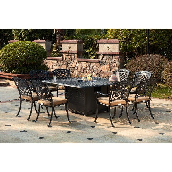 Lenahan 9 Piece Dining Set with Cushions and Firepit