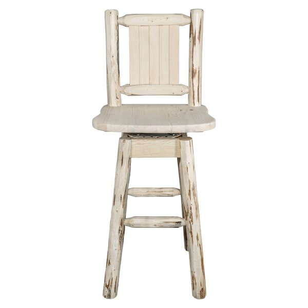 Rochester Rustic 30 Swivel Full Back Barstool by Loon Peak