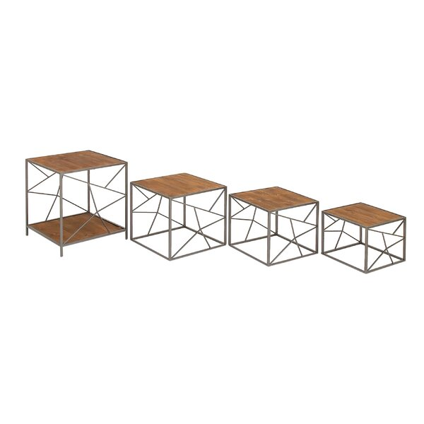 Metal and Wood 4 Piece Nesting Tables by Cole & Grey