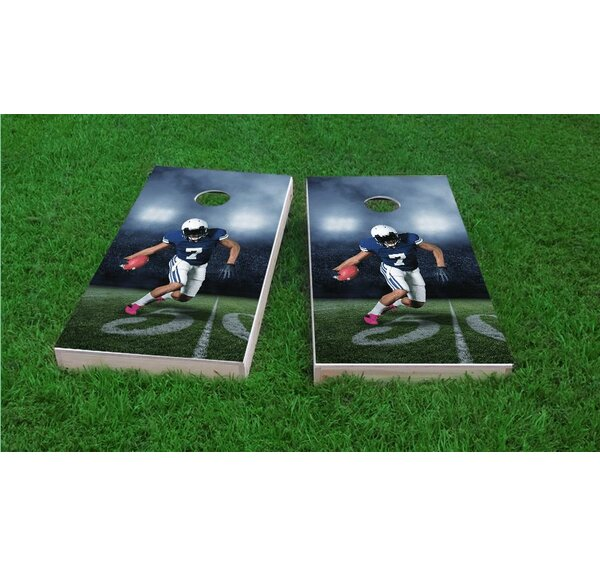 Football Player Running with Ball Cornhole Game Set by Custom Cornhole Boards