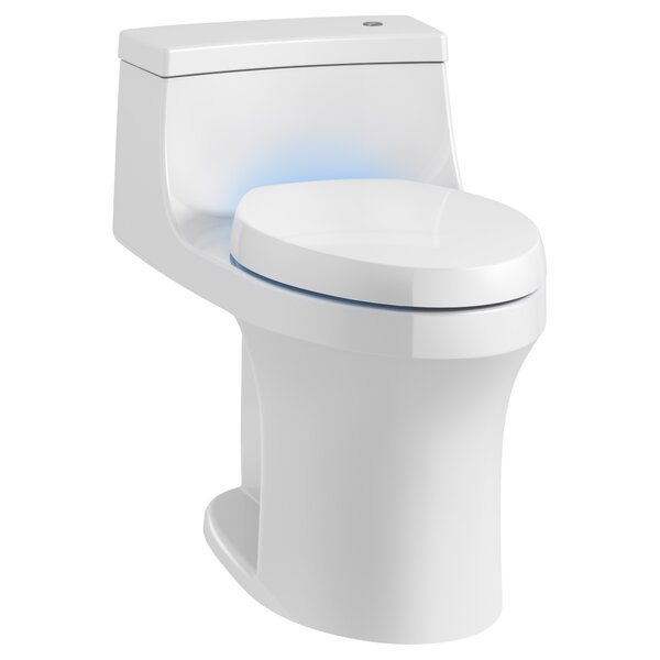 San Souci Souci Touchless with Purefresh Comfort Height 1-Piece Compact Elongated 1.28 GPF Toilet with Aquapiston Flushing Technology by Kohler