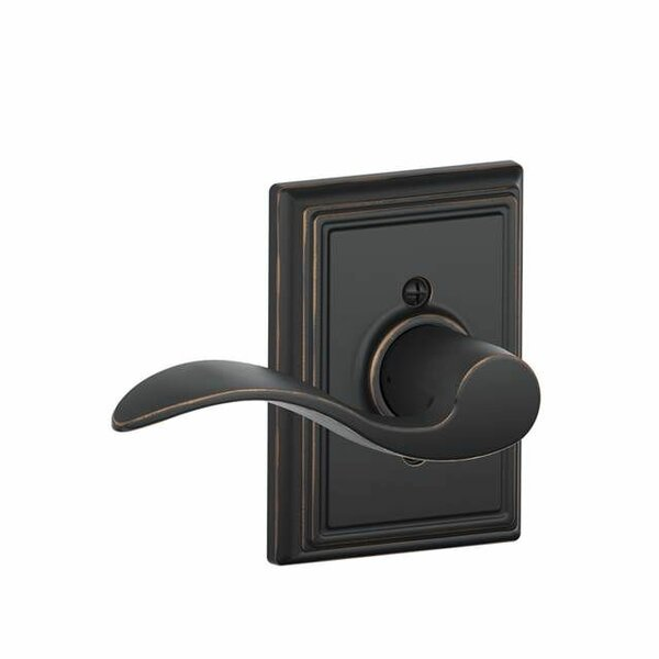 Interior Non-Turning Accent Lever and Interior Inactive Deadbolt Thumbturn with Addison Trim by Schlage