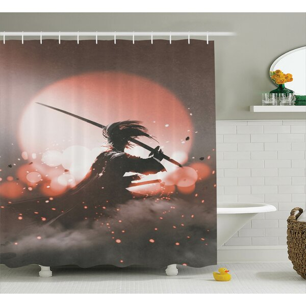 Japanese Samurai with Sword Shower Curtain by East Urban Home