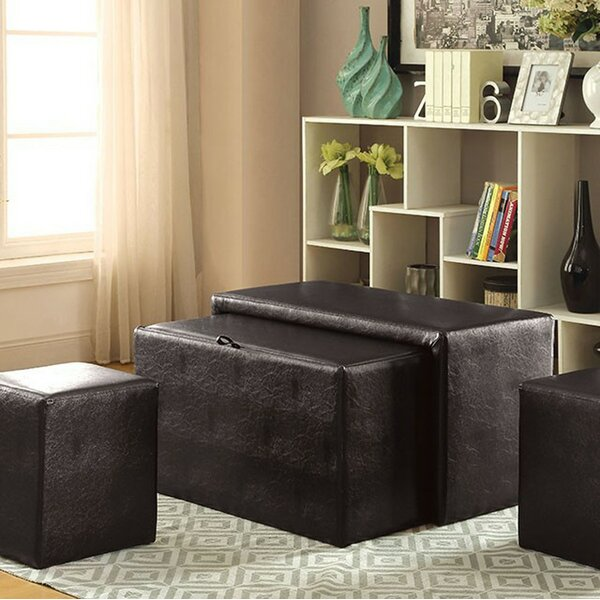 VanderHoeven Commodious Nesting Leather Storage Bench Set by Latitude Run