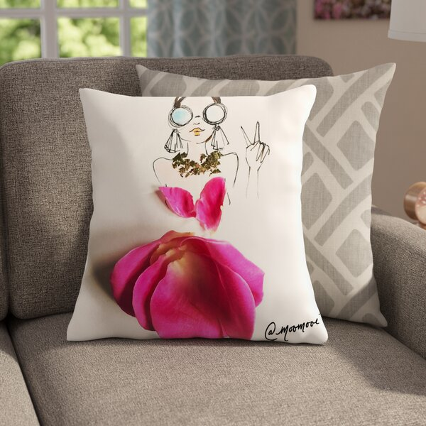 Peace Girl Throw Pillow by East Urban Home