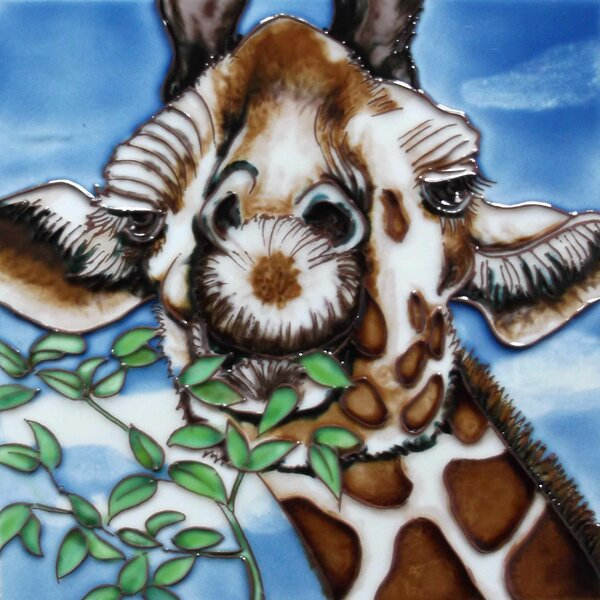 Giraffe with Leaves Tile Wall Decor by Continental Art Center