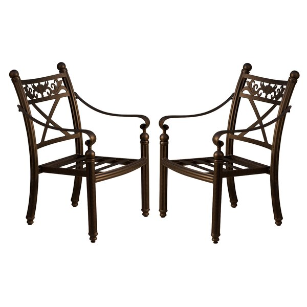 Schleicher Stacking Patio Dining Chair (Set of 2) by Fleur De Lis Living