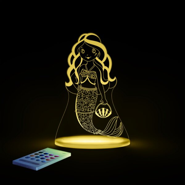 Aloka Starlights LED Mermaid Night Light with Remote Control by Lumenico