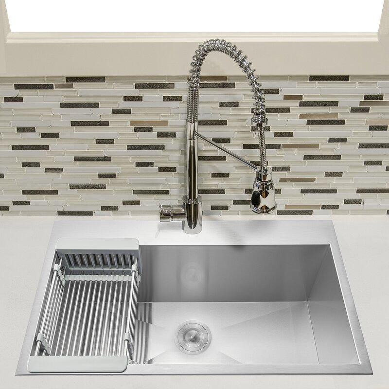 Akdy 33 L X 22 W Drop In Kitchen Sink