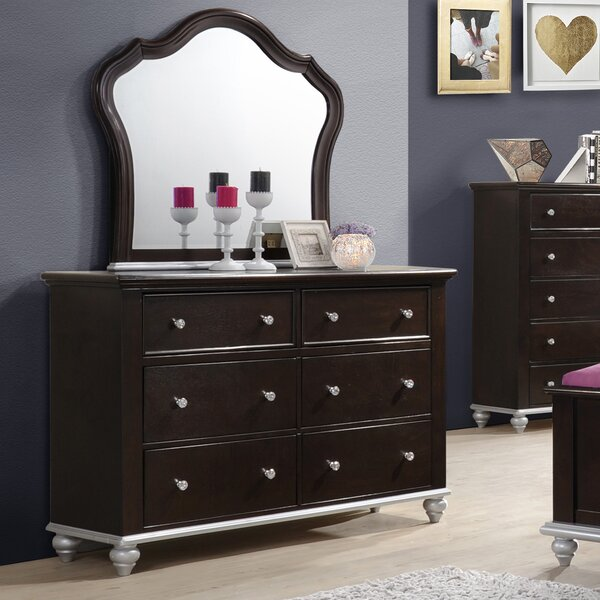 Johnny 6 Drawer Double Dresser with Mirror by House of Hampton