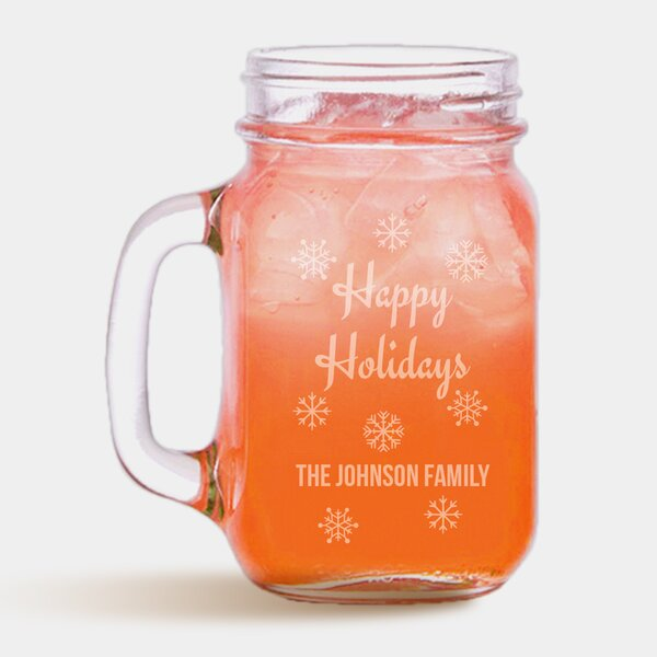 Personalized Happy Holidays 16 oz. Mason Jar by Monogramonline Inc.