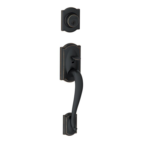 Camelot Exterior Handleset Grip with Exterior Single Cylinder Deadbolt by Schlage