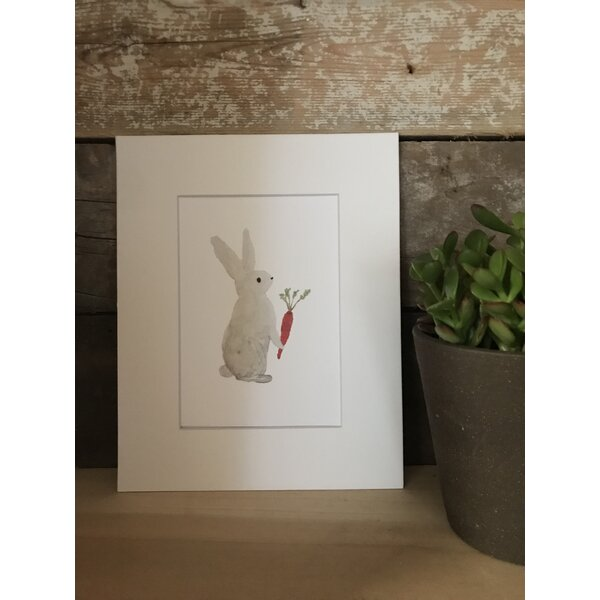 Dolan Watercolor Bunny Framed Paper Print by Harriet Bee