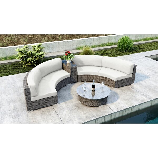 Gilleland 4 Piece Sectional Seating Group with Sunbrella Cushion by Orren Ellis