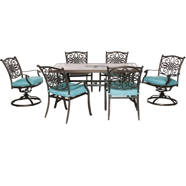 Poynor 7 Piece Dining Set with Cushions by Fleur De Lis Living
