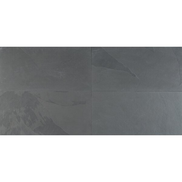 Montauk 12 x 24 Natural Stone Field Tile in Black by MSI