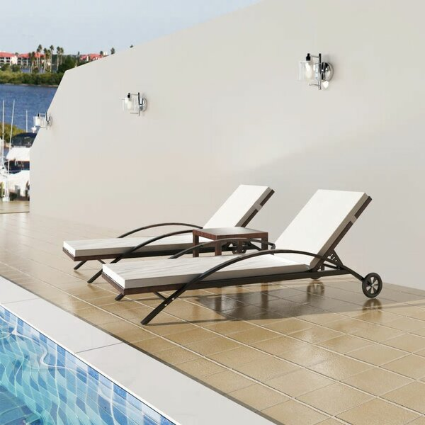 Viveiros Sun Lounger Set With Cushions And Table By Highland Dunes