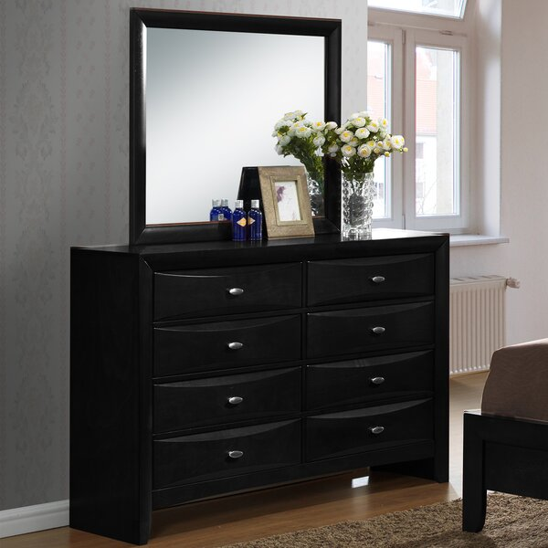 Plumwood 8 Drawer Double Dresser with Mirror by Red Barrel Studio