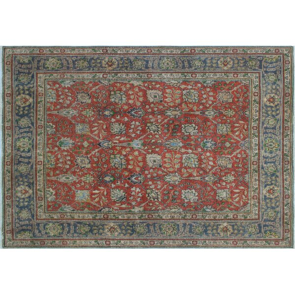 One-of-a-Kind Emmanuelle Distressed Overdyed Hand-Knotted Rust Area Rug by Astoria Grand