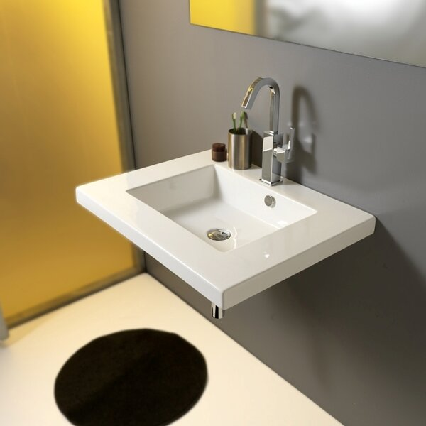 Mars Ceramic 28 Wall Mount Bathroom Sink with Overflow by Ceramica Tecla by Nameeks