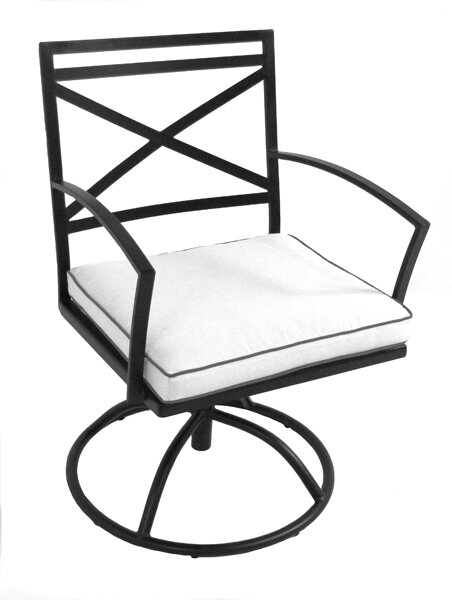 Millom Swivel Patio Dining Chair with Cushion by Canora Grey Canora Grey