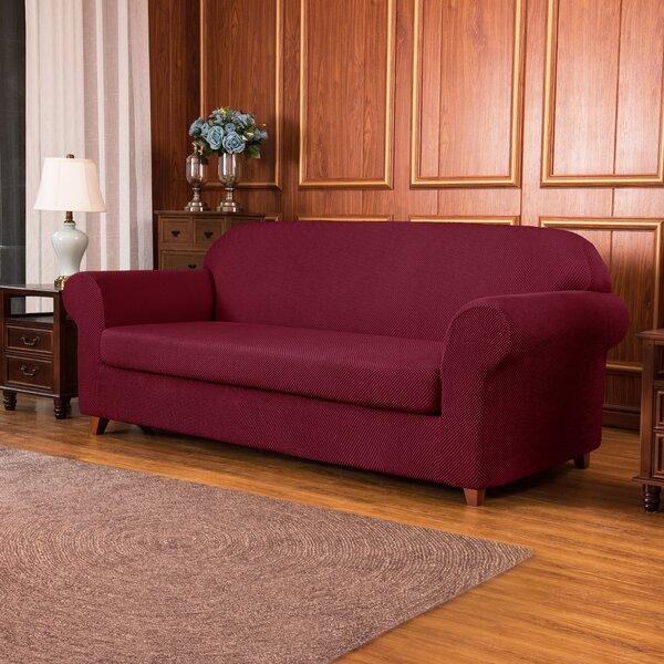 Jacquard Spandex Stretch Box Cushion Loveseat Slipcover By Winston Porter