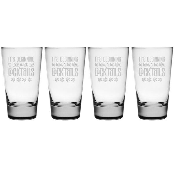 Look A Lot Like Cocktails Heavy Base Hiball 15.5 oz. Glass Every Day Glass (Set of 4) by The Holiday Aisle
